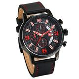AVANER Mens Wristwatch Unique Big Dial Quartz Watch Leather Strap Multifunction Watch with Calendar Window and 3 Subdial for Men and Boys