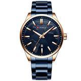 Fashion Business Watches Men Creative Design Dial Quartz Watch Stainless Steel Band Wristwatch Relogio Masculino (Rose Gold Blue)