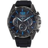 Seiko Quartz Watch SSB353P1 - Rubber Gents Quartz Chronograph