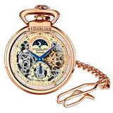 Stuhrling Orignal Mens Pocket Watch Automatic Watch Skeleton Watches for Men - Rose Gold Pocket Watch - Mechanical Watch with Belt Clip and Chain -Dual Time AM/PM Sun Moon Subdial
