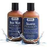 WAHL Wahl Body Wash & Shampoo Shower Combo Kit with Essential Oils for Men – Restorative, Nourishing, Exfoliating & Moisturizing with Meadowfoam Seed Oil, Clove Oil & Moringa Oil