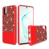 Leather Glitter Hybrid Chrome TPU Case, Red For Galaxy Note 10 Plus