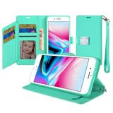 Vegan Leather Phone Wallet Case with Extra Card Flap and Wristlet, Teal For iPhone 8 Plus