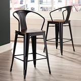 """OFM 161 Collection Industrial Modern 4 Pack 26"""" Mid Back Metal Stools with Arms and Solid Ash Wood Seats, Galvanized Steel Bar Stools with Oversized Seats, in Black/Walnut"""