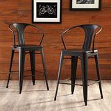 """OFM 161 Collection Industrial Modern 4 Pack 26"""" Mid Back Metal Armchair Stools, Galvanized Steel Indoor/Outdoor Bar Stools with Oversized Seats, in Black"""