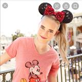 Disney Accessories   Disney Minnie Mouse Ears Sequin Headband   Color: Black/Red   Size: Os