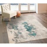 17 Stories Colborne Abstract Blue/Beige Area Rug Polypropylene in Blue/White, Size 120.0 H x 96.0 W x 0.5 D in   Wayfair
