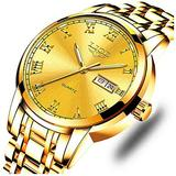 Mens Watches LIGE Fashion Luxury Gold Stainless Steel Analog Quartz Waterproof Automatic Dress Business Calendar Watch for Men with Blue Dial Watch