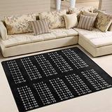 WIHVE Area Rugs Black White Multiplication Table Carpet Modern Square Floor Mat for Kids Home Living Dining Room Playroom Decoration 5' x 7'