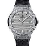 Hublot Classic Fusion Diamond Dial Black Leather Titanium Case Automatic Watch 565.NX.9010.LR.1704
