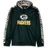 Zubaz NFL Green Bay Packers Mens Slub Hoodpullover Hood, Green/Gold, Medium