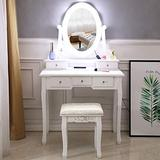 LED Vanity Makeup Table Set,Makeup Dressing Table Vanity Set with 10 Light Bulbs,5 Drawers & Cushioned Stool,Vanity Beauty Station Bedroom Dressing Vanity Table for Girls Women Bedroom Vanity Dresser