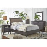 City II California King-size Upholstered Sleigh Bed in Basalt Gray - Modus 1X57L6D