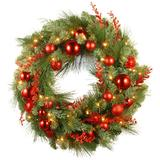 National Tree Co. 30-in. Christmas Red Mixed Wreath & Battery Operated Warm White LED Lights, Green
