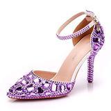 Royal Blue Rhinestone Sandals Thin High Heels Pointed Toe Sandals Blue Crystal Heels Shoes Fashion High Heel Shoes (40 M EU / 8.5 B(M) US, Purple)