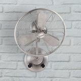 "16"" Craftmade I Bellows Brushed Nickel Damp Oscillating Wall Fan"