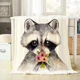 Mugod Raccoon Throw Blanket Watercolor Cute Baby Raccoon with Flowers Decorative Soft Warm Cozy Flannel Plush Throws Blankets for Bedding Sofa Couch 60 X 80 Inch