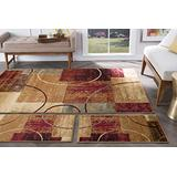 Tacoma Multi-Color 3 Piece Area Rug Set for Home, Room, and Decor - Modern, Abstract