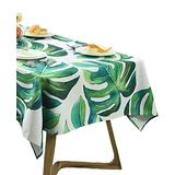 BOXAN Chic Green Tropical Tablecloth with Palm Tree Leaf, Stylish Fantasy Luau Jungle Hawaii Theme Party Table Topper Decor, Tropic Outdoor Kitchen Dining Room Rectangular Table Cover, 55 X 86 inches