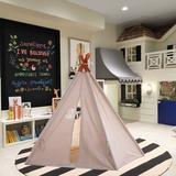 e-Joy kids Indoor/Outdoor Cotton Triangular Play Tent Cotton in White, Size 72.0 H x 48.0 W x 48.0 D in   Wayfair TeepeetOffWhite1pc