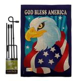 Breeze Decor Freedom Eagle Americana Patriotic Impressions 2-Sided Polyester 18.5 x 13 in. Flag set in Blue/Brown, Size 18.5 H x 13.0 W x 1.0 D in