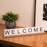 Winston Porter Frasier 8 Piece Serenity Welcome Letter Tile Sign Set Wood in Blue/Brown/White, Size 4.0 H x 23.0 W x 2.75 D in | Wayfair