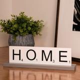 Winston Porter Franzen 5 Piece Serenity Home Letter Tile Sign Set Wood in Blue/Brown/White, Size 4.0 H x 13.75 W x 2.75 D in | Wayfair
