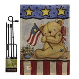 Breeze Decor Pat Bear Americana Patriotic Impressions 2-Sided Polyester 18.5 x 13 in. Flag Set in Gray, Size 18.5 H x 13.0 W x 1.0 D in   Wayfair