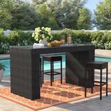 Sol 72 Outdoor™ Tegan Bar Table Glass/Wicker/Rattan, Size 42.0 H x 76.0 W x 34.0 D in | Wayfair 358B65AE50054817B83966AC10A69DDD