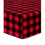 Trend Lab Boys' Fitted Sheets Black, - Red & Black Buffalo Check Flannel Fitted Crib Sheet