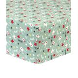 Trend Lab Fitted Sheets Multi-color - Soft Green & Red Reindeer Gifts Flannel Fitted Crib Sheet