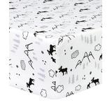 Trend Lab Fitted Sheets Black, - White & Gray Lumberjack & Mountain Flannel Fitted Crib Sheet