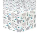 Trend Lab Fitted Sheets Multi-color - White & Gray Bears & Trees Flannel Fitted Crib Sheet