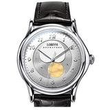 moonphase Watch, Luxury Watches for Men LOBINNI 50M Waterproof Leather Band Mens Automatic self Wind Mechanical Dress Wristwatch 1810L (Silver case White dial)