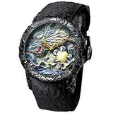 Men's Fashion Big Dial Watches 3D Sculpture Dragon Luxury Men Quartz Watches Exquisite Creative Watch
