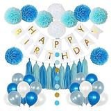 Axgo Happy Birthday Party Decoration Set Paper Pom Poms Flowers, Tassel, Balloons, Banner and Round Dots Garland, Blue