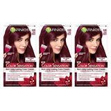 Garnier Color Sensation Hair Color Cream, 4.60 Cherry on Top (Dark Intense Auburn), (Pack of 3) (Packaging May Vary)