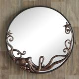 Octopus Round Wall Mirror Burnished Copper , Burnished Copper