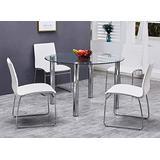 Best Master Furniture Tarina 5 Pcs Round Glass Top Dinette Set, White