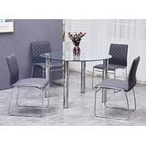 Best Master Furniture Tarina 5 Pcs Round Glass Top Dinette Set, Grey