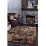 Colorblock Wildlife Multi-Color Machine Washable Area Rug 5x7 for Living Room - Bedroom or DiningRoom - Lodge, Cabin and Farmhouse