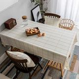 Home Brilliant Table Cloth Stain Resistant Tablecloth for 6 Seats Dining Table Rectangular Table Cover for Kitchen Party (52 x 102 Inches), Cream