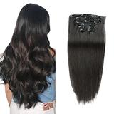 Remy Hair Clip in Extensions Human Hair Silky Straight Natural Color Double Weft Thick 100% Human Hair Clip in Extensions 7pcs 16clips (18inch 70g-2.5oz) …