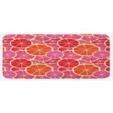 East Urban Home Funky Grapefruit Vintage Citrus In Vibrant Circular Illustration Fuchsia Scarlet Ivory Kitchen Mat Synthetics in Pink | Wayfair