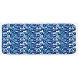 East Urban Home Contemporary Geometric Mosaic w/ Rich Modern & Abstract Shapes Violet Pale Blue White Kitchen Mat Synthetics in Navy | Wayfair