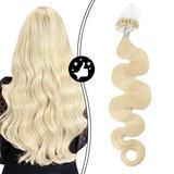 Moresoo 22 Inch Micro Loop Human Hair Extensions Micro Beads Hair Extension Human Hair Wavy Color #60 Platinum Blonde Hair Extensions 100% Real Hair Microlink Hair Extensions Human Hair 50s 50g
