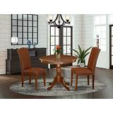 East West Furniture Wooden Dining Table Set 3 Pieces - Brown Faux Leather Parsons Dining Room Chairs - Mahogany Finish Hardwood Pedestal Wood Dining Table and Frame