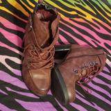 Torrid Shoes | *Sold* 11.5 Torrid Merlot Chunky Heel Combat Boots | Color: Purple/Red | Size: Various