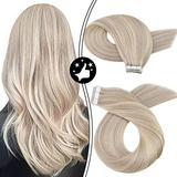 Moresoo Remy Tape in Human Hair Extensions 18 Inch Highlight Blonde Real Human Hair Tape in Extensions Color #18 Ash Blonde Mixed #613 Bleach Blonde Hair Extensions Tape in Extensions 20PCS 50G