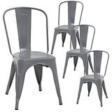 Metal Chair Dining Chairs Set of 4 Dining Room Kitchen Chair Patio Chair Tolix Restaurant Chairs 18 Inches Seat Height Trattoria Bar Chair Metal Stackable Chairs Indoor Outdoor Chairs